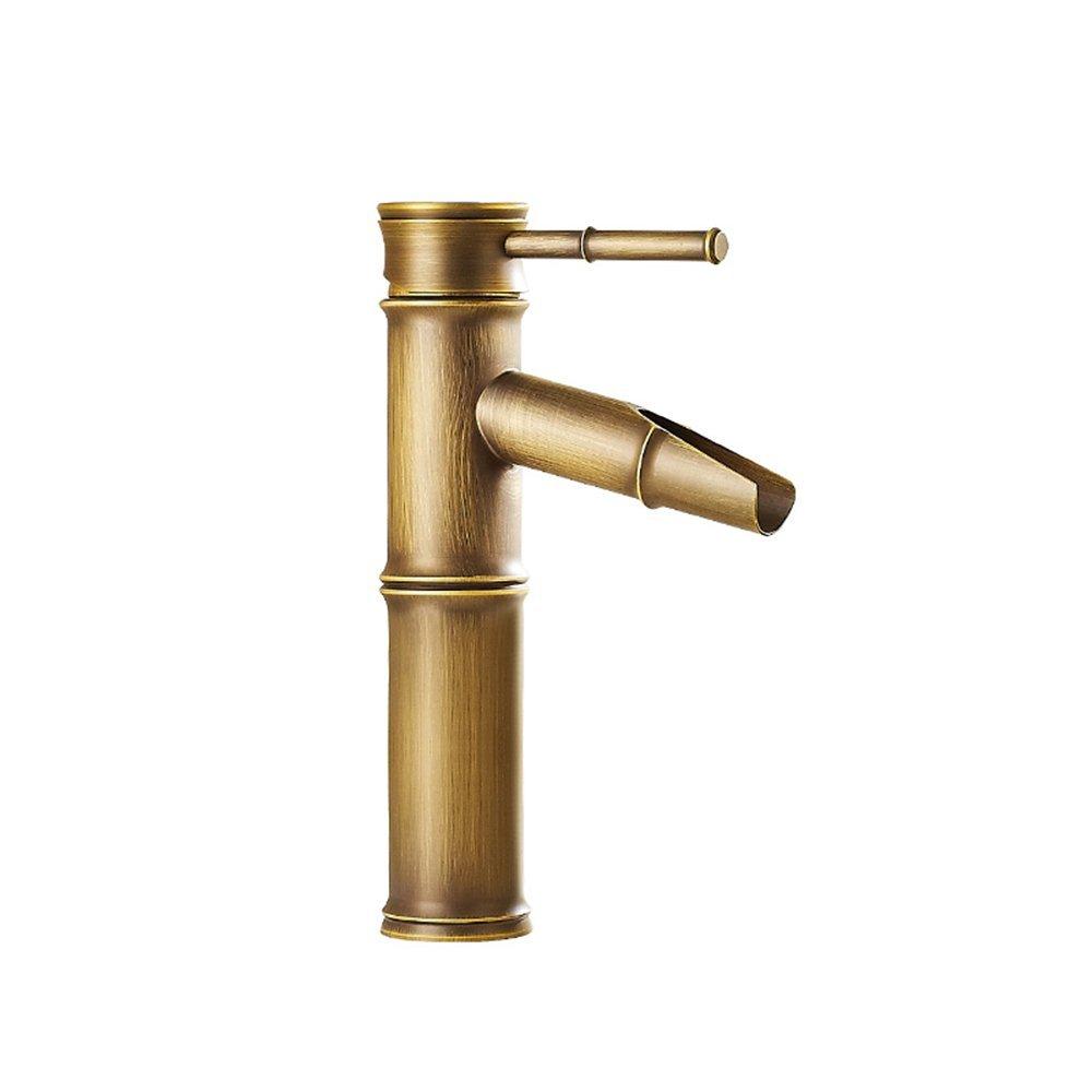 Grifo mezclador monomando de lat/ón envejecido para lavabo de ba/ño